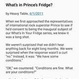 Prince's fridge